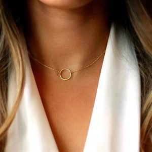 🎉 New Gold Plated Circle Chain Necklace